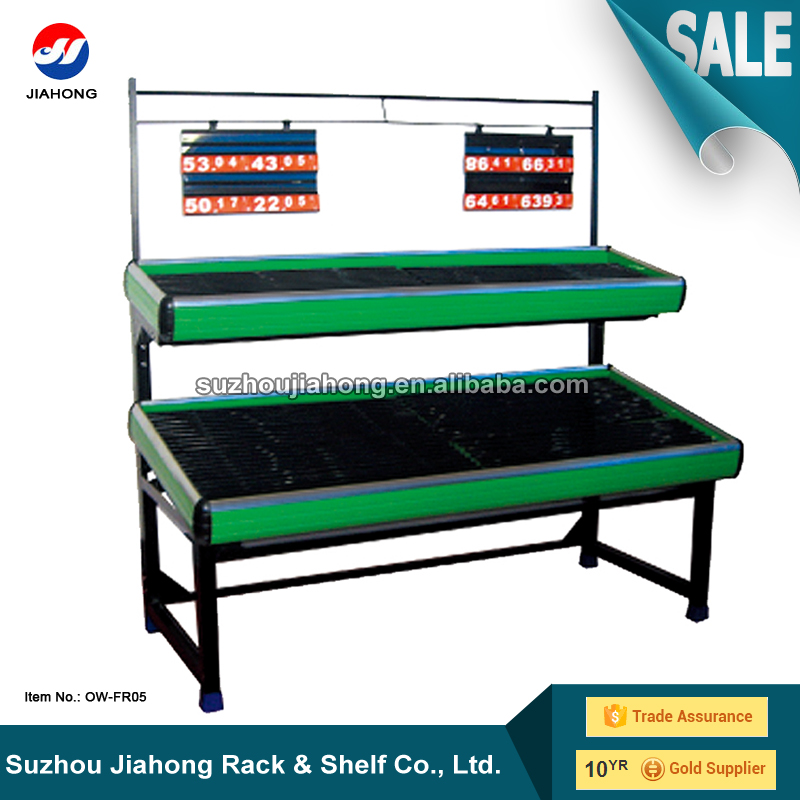 JH Double Layers Metal Board PVC Grid Vegetable Rack, Vegetable and Fruits Display Rack, Steel Fruit Vegetable Display Rack