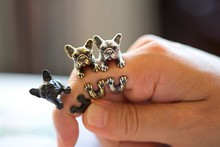 Cute Open Animal French Bulldog Rings for Women Lovely Animal Jewelry Rings