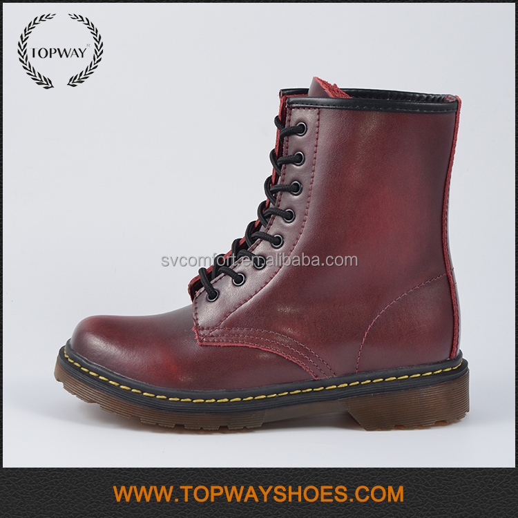 High quality wholesale genuine leather british flat women winter martin boots