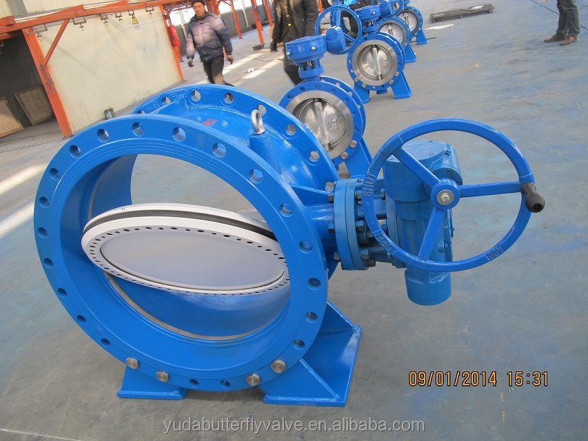 wafer type high performance zero leakage butterfly valve with worm geared