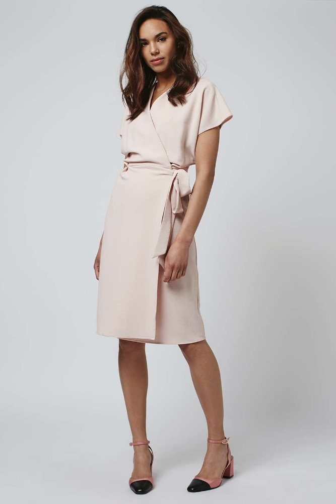 womens V Neckline Wrapped Tie Short Sleeve Midi Dress / Ladies Light Pink Polyester / Elastic Cinched Wasited Casual Dress