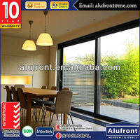 AS2047 aluminum standard size double panel sliding glass doors