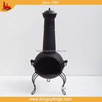Garden Large Steel Chiminea with Grill - Black