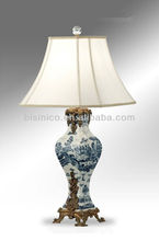 Chinoiserie Blue & White Porcelain Table Lamp,Imitated Vase Shape Table Light, Porcelain Table Lamp With Shade For Home Decor