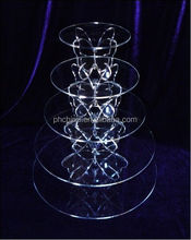 The Best Quality 5 Tier Crystal Clear Acrylic Round Cupcake Cake Stand
