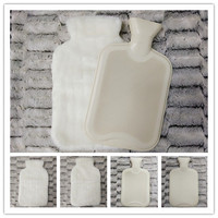 Hot Water Bottle With White Plush Cover with back flap