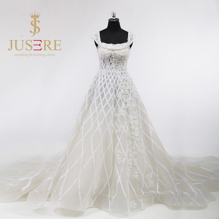 Latest Fashion A Line Square Neckline 3D Flowers Sheer Lace Grid Pearls Beaded Ivory Tulle Wedding Dresses 2016