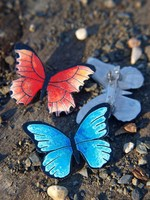 Hand-painted butterfly brooch, stainless steel