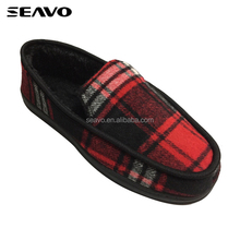 SEAVO warm felt upper tpr sole style slip on style red men winter house shoes