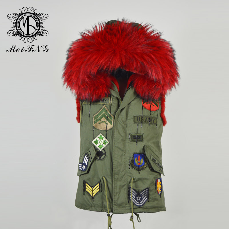 Red Fur Pattern Vest Fashion Furs Wear,Spring Wear Brigth Red Raccoon Hoodies Patches Fur Vest