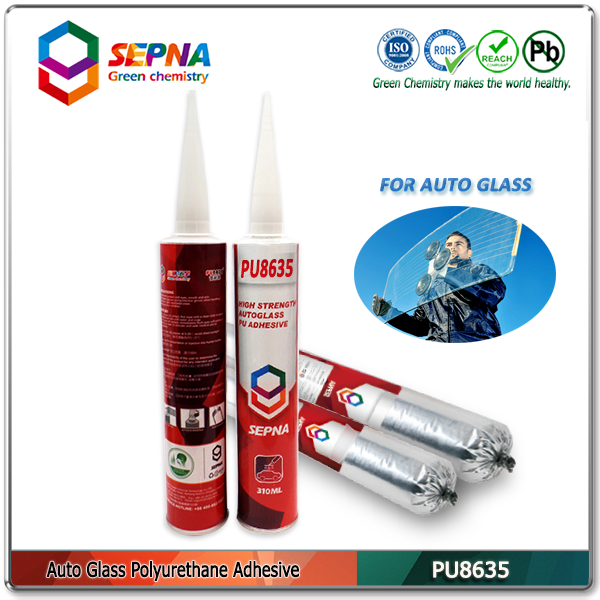 PU8635 No bubbles and black water PU adhesive under high temperature/ little volatile smell sealant for bus side glass