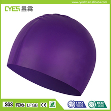 Wholesale 100% Rubber Waterproof Swimming Cap Customized Logo Silicone Swim Cap