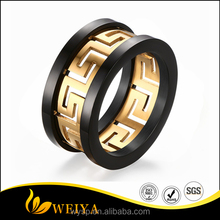 Fashion Gold And Black Colour Great Wall Grain Titanium Steel Men's Rings