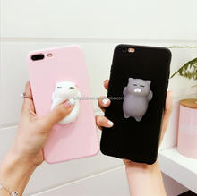 Squishy Cat Phone Case, 3D Cute Soft Silicone Poke Squishy Cat Phone Back Cover