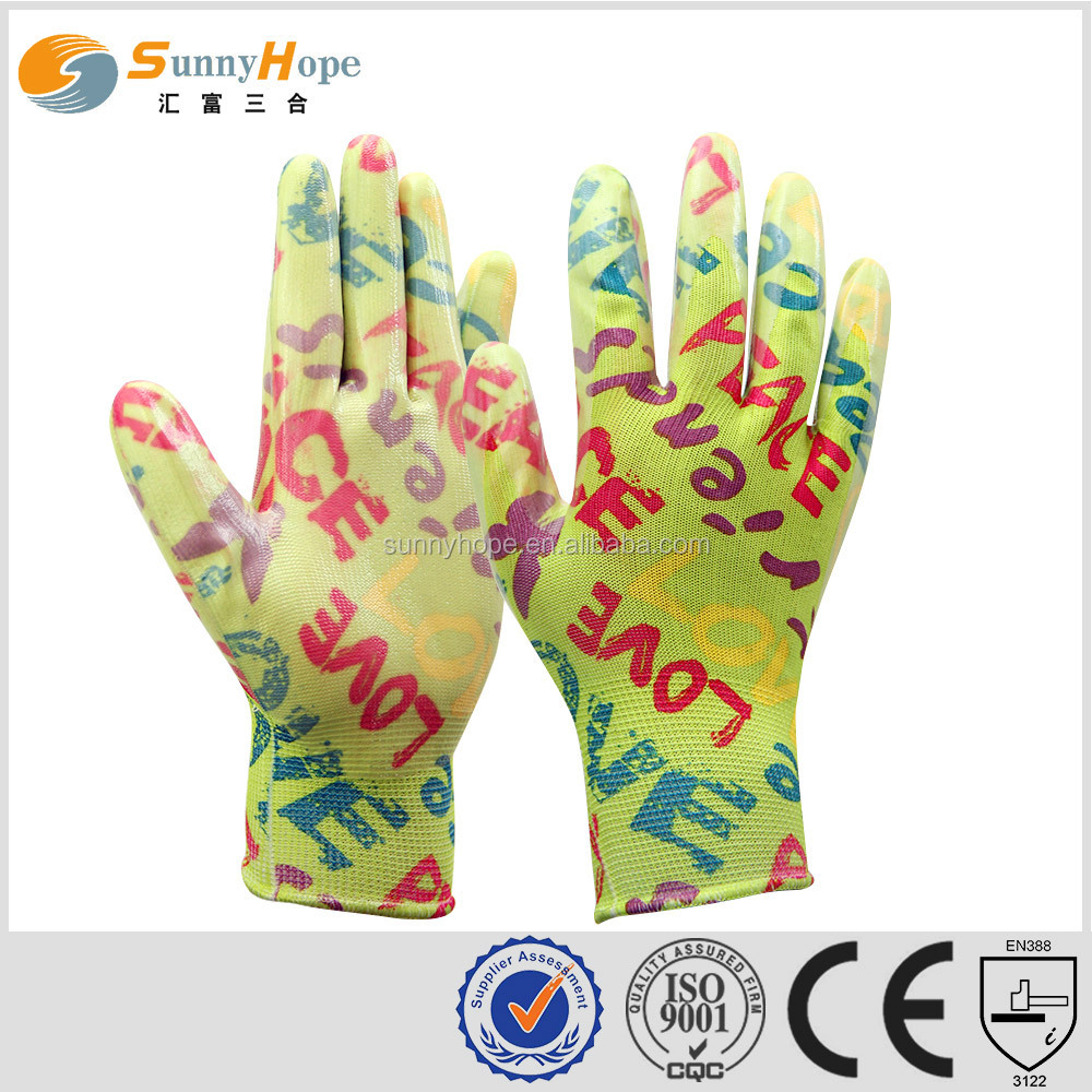 SunnyHope 2017 popular made in China nitrile coated women's garden gloves