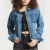 Frayed denim jacket women