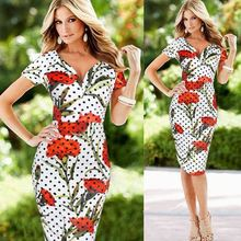 New women's v-neck sexy pencil dot elastic elegant short sleeve floral print dress sv021056