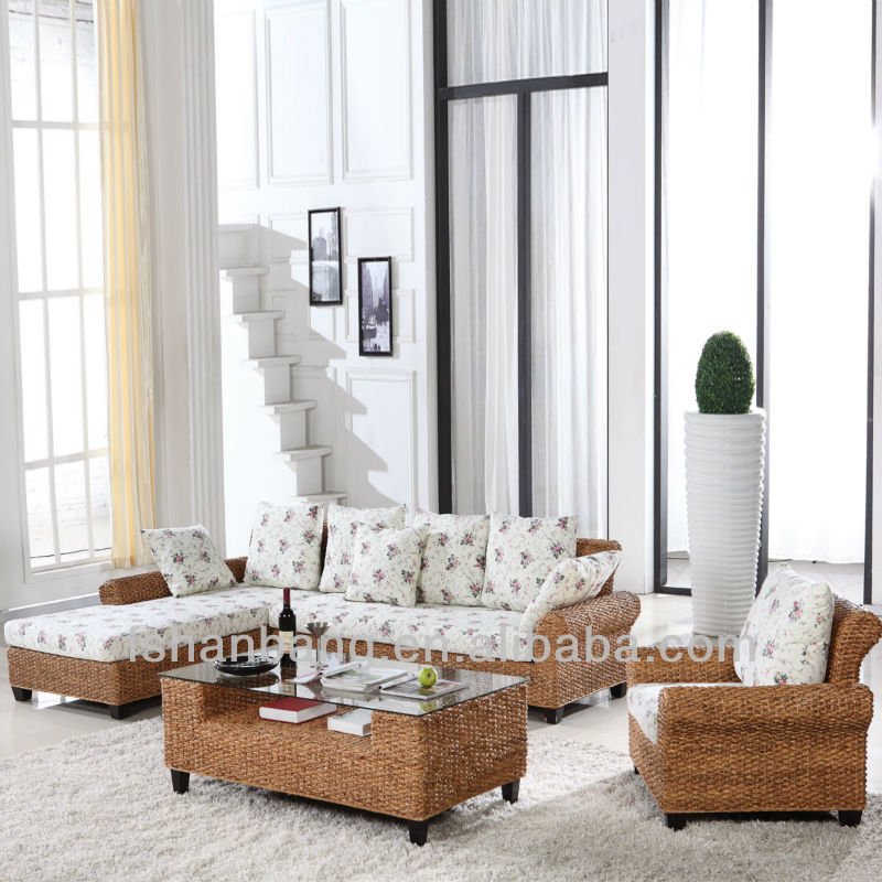 Large Trendy Seagrass Sofa Bed Set