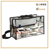 Large makeup artist shoulder clear PVC transparent cosmetic bag