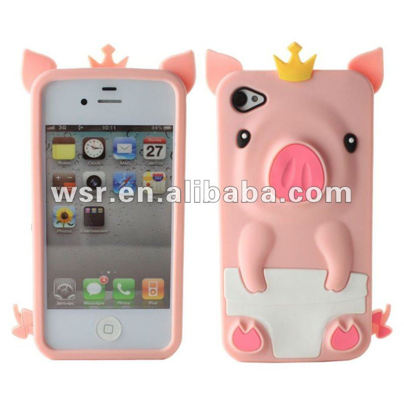 silicone rubber Pig I phone case For Apple Iphone 4 4s