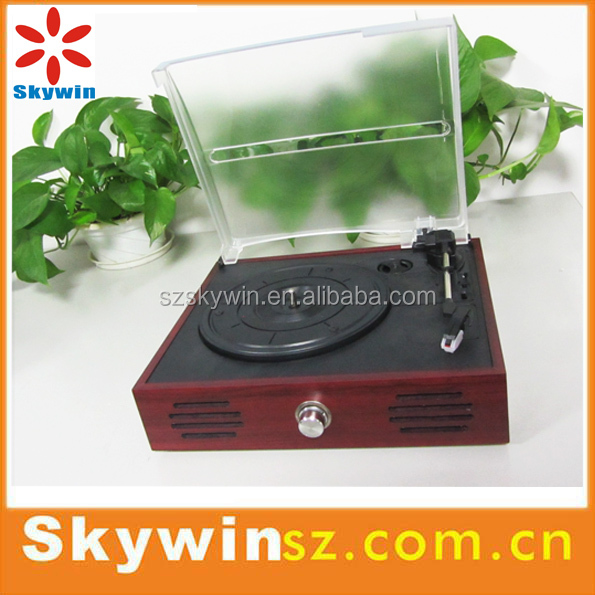 New Design Vintage Turntable Vinyl Record Player with USB,Aux-in, Headphone Jack