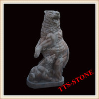 Hand carved marble brown bear animal statue