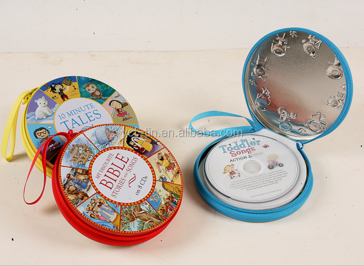 Manufacture Wholesale Round Tin CD Case With Zipper