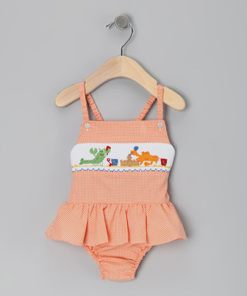 Wholesale orange gingham smocked swimwear for baby girls