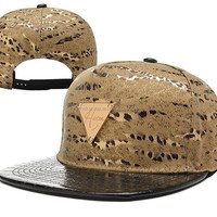 Snake Skin Brown Leather Snapback Caps