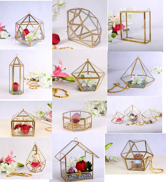 brass photo frame^ watch display case container with lid | New wedding& christmas decoration crystal glass jewelry storage box