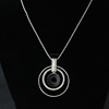 wholesale fashion jewelry 2016 latest design women Luxury crystal simple circle pendant necklace manufacturer KPXN-029
