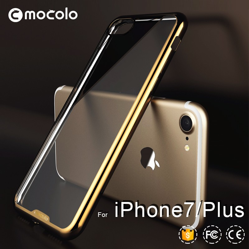 For apple iphone 7 electroplating bumper soft clear ultra-thin tpu phone case for i phone 7 rubber case