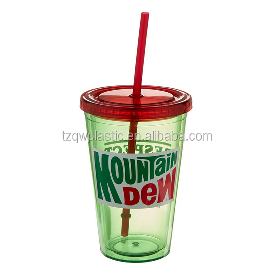 "ICUP Mountain Dew - ""Respect The Dew"" 16oz. Plastic Cup with Straw"