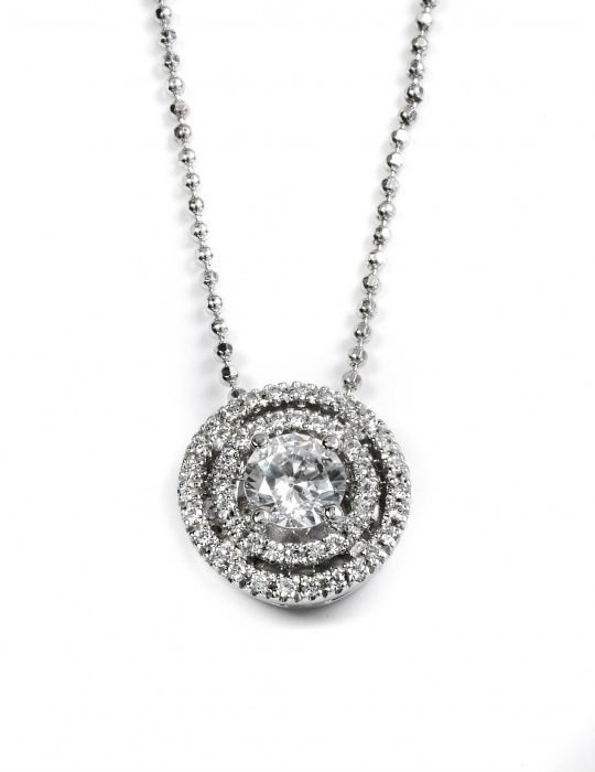 Impressive bridal pendant, 14K White Gold and natural round cut Diamonds, 0.75 carats