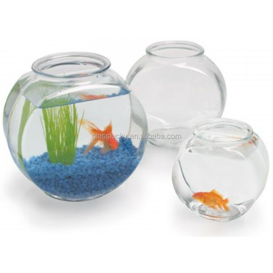 Clear glass drum side fish tank , colored wholesale glass fish bowls