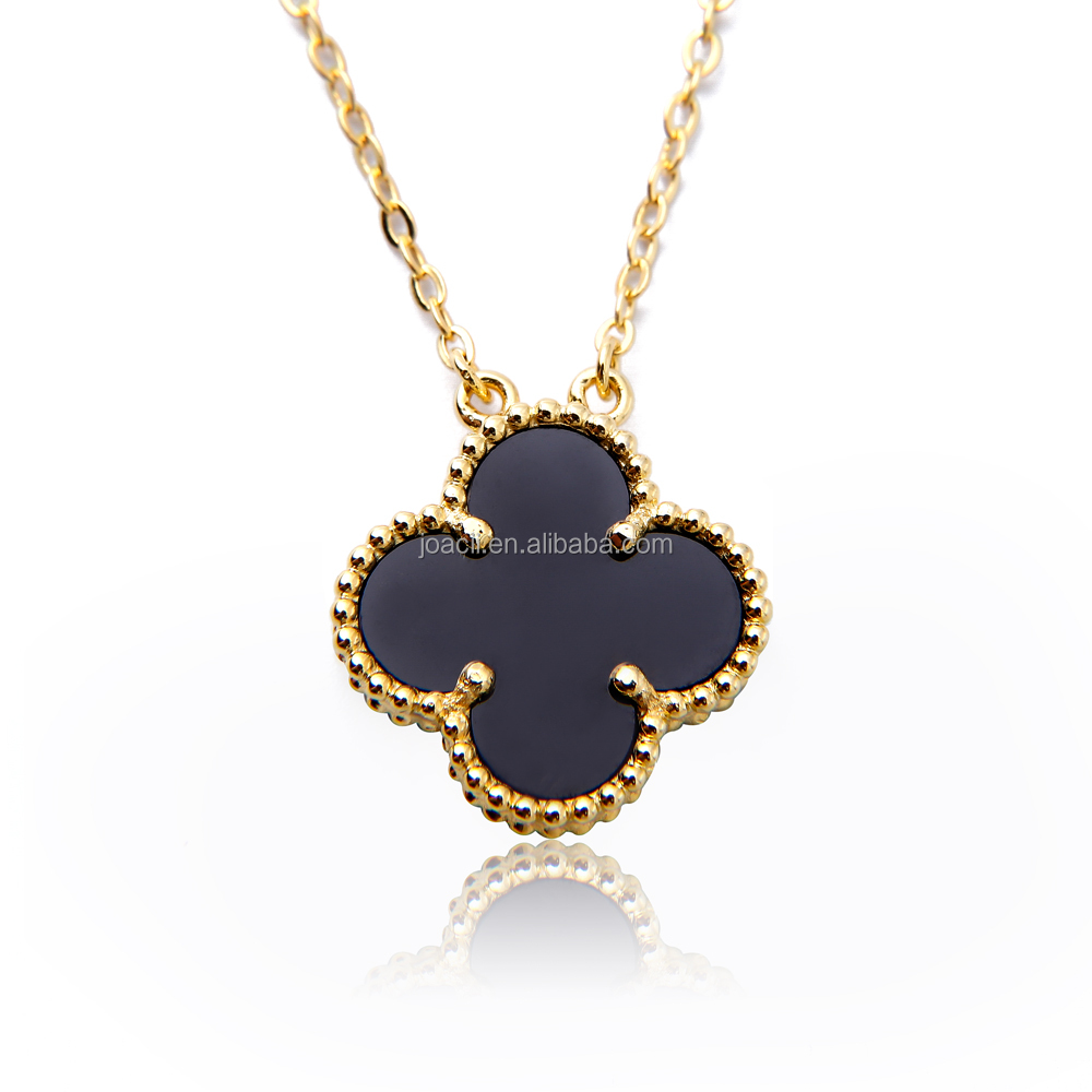 Four Leaf Clover 18k gold plated jewelry necklace 925 silver necklace yellow color