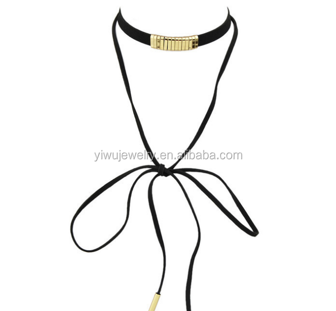 N53-049 new fashion trends gold oblong slider charms long can be suede wrapped up choker necklace