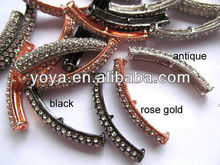 JF2108 Wholesale Crystal Rhinestone Pave Curved Spacer Bar