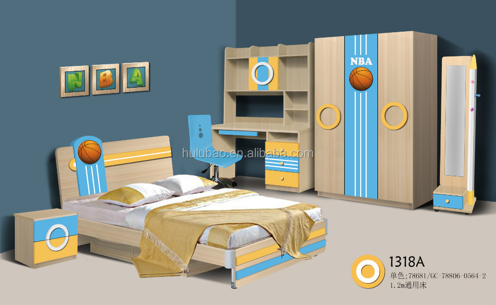 2015 Kids bedroom single bed with nightstand fashion design #1318A