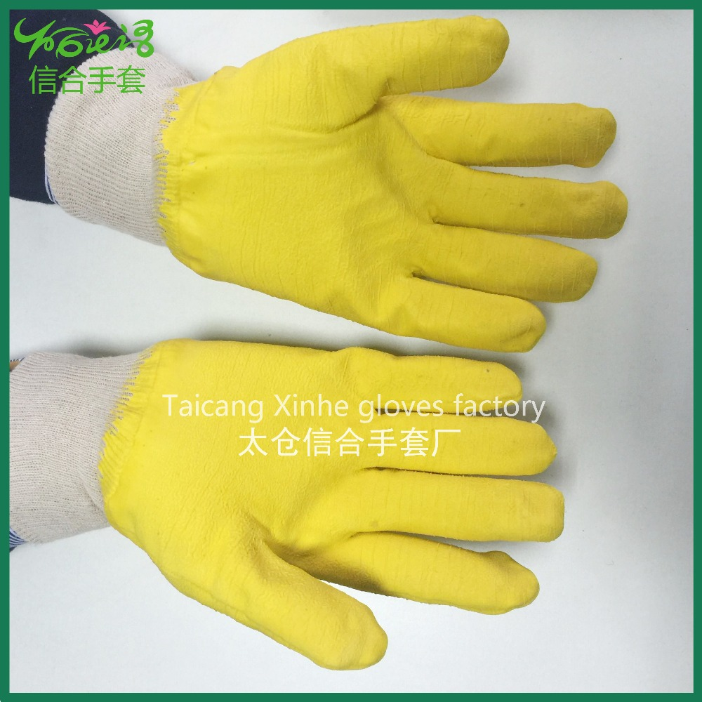 Nitrile coated work gloves yellow rubber work gloves