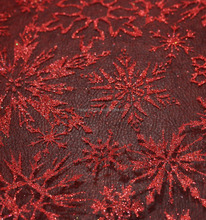 Christmas dress material red snowflake printed organza fabric