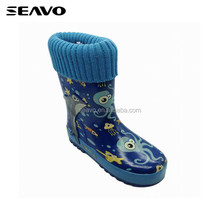 SEAVO SS18 unique marine animals print warm fleece lined style cheap blue kids rubber rain boots