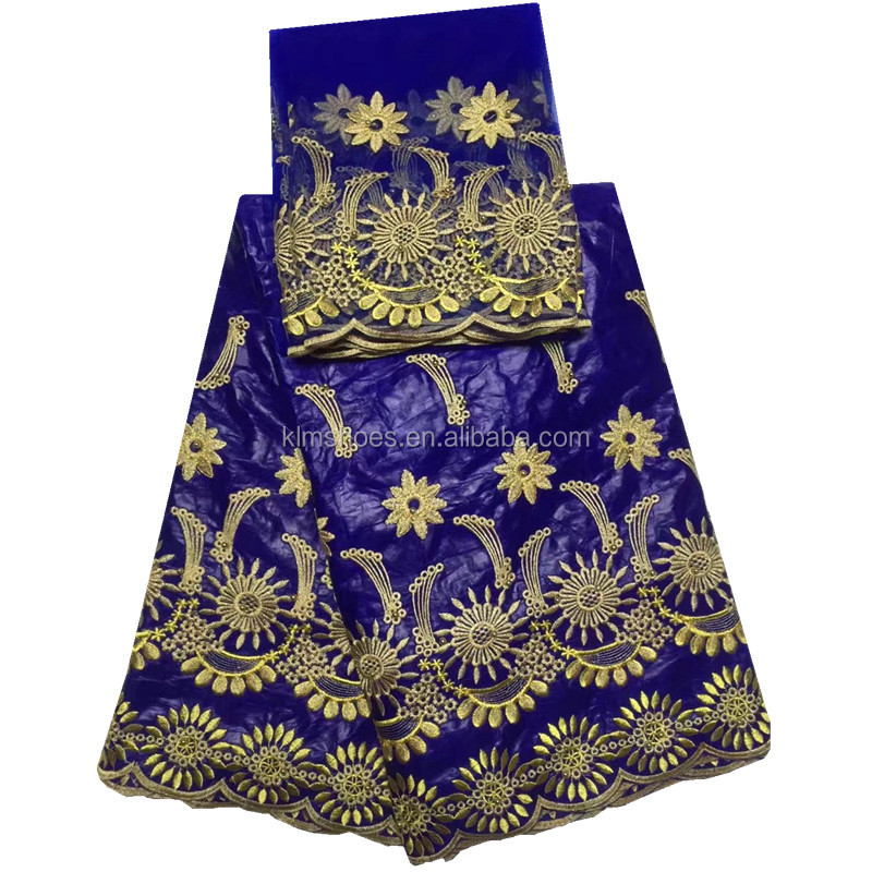 Royal blue+gold embroidery designs high quality african french lace fabric latest nigerian tulle laces bazin fabric for sewing