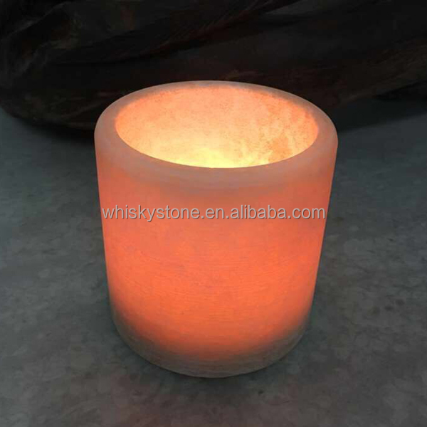Handmade Candleholder Himalayan Round Crystal Rock Salt Votive Candle Holder