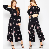 Front crew neckline button back fasten printed long sleeves fashion women jumpsuit