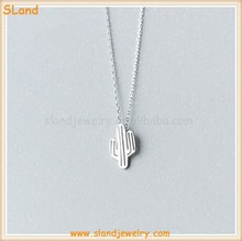 2017 new products Plain Classic Desert Cactus plant Necklace sterling silver 925 wholesale for Man Woman Jewelry
