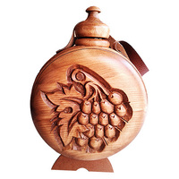 Wooden wine vessel with wood carving and plastic container 1000ml