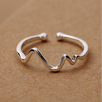 Fashionable 925 Sterling Silver Ring curves opening silver ring