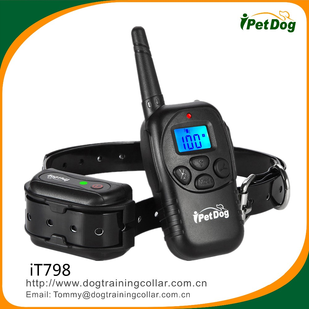 Hot selling in Amazon LCD Display Waterproof 330Yard Remote Dog Training Shock Collar Beep Vibration Electric Collar