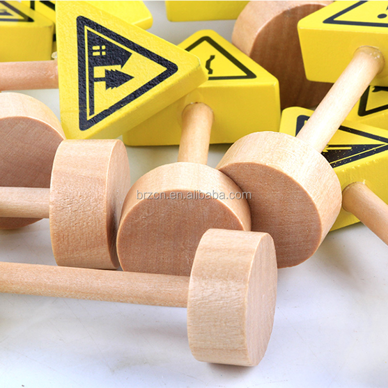New Unique Design Mini Toy Traffic Set Wooden Road Traffic Sign